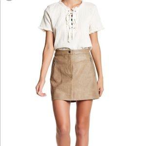 NWT JOA Faux Leather Skirt - Khaki
